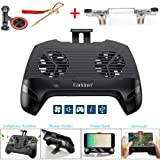 Mobile Game Controller with Radiator/Mobile Phone Holder/Cellphone Clamp/Clip Compatible for PUBG 5-in-1 Gamepad Shoot and Aim Trigger Phone Cooling Pad Power Bank for Android & iOS (Color: black)