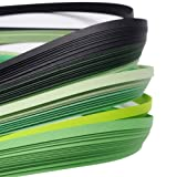 ARRICRAFT 10 Bags Green 6 Colors Quilling Paper Strips Gradual Color for DIY Crafts Home Decoration, 390x3mm, About 120strips/bag, 20strips/Color (Color: green)
