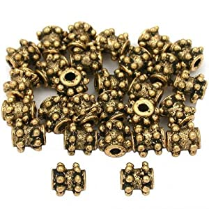 15g Dot Bali Tube Beads Antq Gold Plated 6mm Approx 25