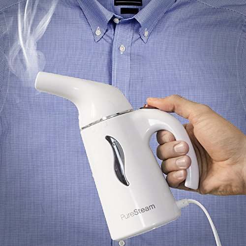 Pure Enrichment PureSteam Portable Fabric Steamer (White) - Fast-Heating, Ergonomic Handheld Design with Easy-Fill Water Tank for 10 Minutes of Continuous Steam - Ideal for Home or Travel