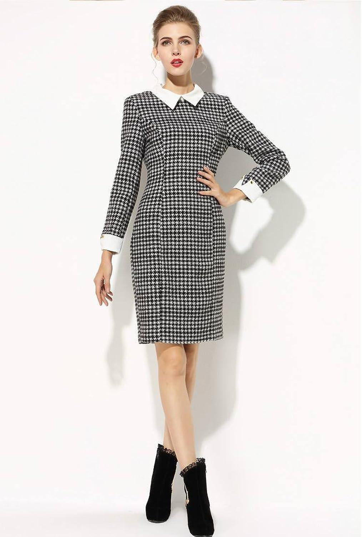 Amazon.co.jp: ワンピース 千鳥格子柄 襟付 黒Q4141120-06Z6r: Amazonファッション通販