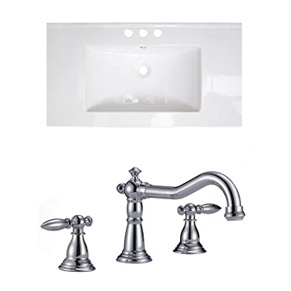 "Jade Bath JB-15873 36"" W x 18"" D Ceramic Top Set with 8"" o.c. CUPC Faucet, White"
