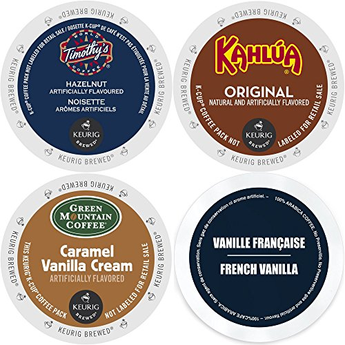 K-Cup Flavored Coffee Variety Pack, 96 Count Flavored Keurig 2.0 K Cup Sampler featuring Kahlua, Faro French Vanilla, Green Mountain Caramel Vanilla Cream, and Timothy's Hazelnut, for Keurig Brewers (Keurig K Cup Coffee Sampler compare prices)