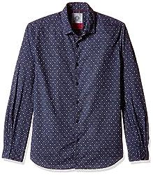 Locomotive Men's Casual Shirt (15110001471432_LMSH010650_XL_Navy Blue)