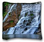Custom Design Square Throw Pillowcase Landscapes waterfall rocks Trees landscape (18x18 Two Side)