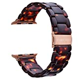 V-MORO Resin Strap Compatible with Apple Watch Band 38mm 40mm Series 4/3/2/1 Women Men with Stainless Steel Buckle, iWatch Replacement Wristband Strap(Tortoise-Tone, 38mm) (Color: 1*Tortoise-tone, Tamaño: 38mm/40mm)