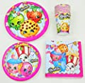 Shopkins Birthday Party Supplies Pack Bundle - Lunch Plates, Dessert Plates, Napkins, Cups