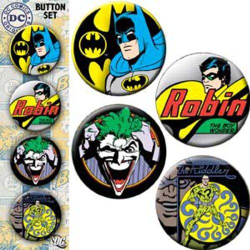 """Licenses Products DC Comics Originals Batman Assorted Artworks 1.25"""" Button Set, 4-Piece at Gotham City Store"""