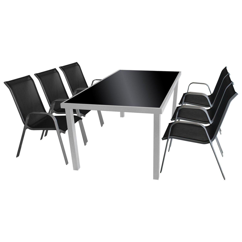 7tlg. Sitzgruppe Gartengarnitur Gartenmöbel Terrassenmöbel Set Glastisch 180x90cm, schwarze undurchsichtige Tischglasplatte + 6x Stapelstuhl Textilenbespannung