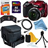 Nikon COOLPIX B500 16MP CMOS Wi-Fi, NFC Digital Camera with 40x Zoom Lens & HD Video (Red) + 8pc 8GB Accessory Kit w/ DigitalAndMore Ultra Gentle Cleaning Cloth