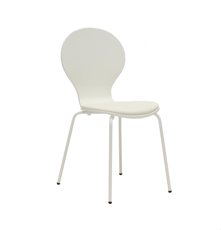 Tenzo 610-001 FLOWER – 4er-Set Designer Stühle, Schichtholz lackiert, matt, Sitzkissen in Lederoptik, Untergestell Metall, lackiert, 87 x 46 x 57 cm, weiß jetzt kaufen
