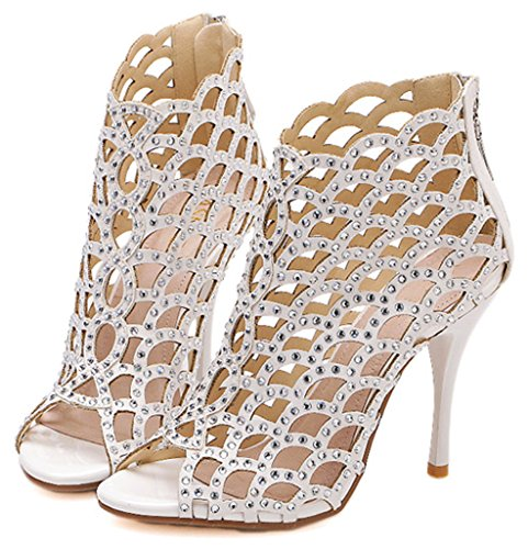 Littleboutique Womens Sparkle Crystal Sandals Stiletto Sandals Cutouts Night Club Party Dress High Heels