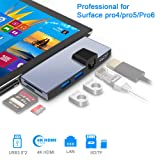 Microsoft Surface Dock USB 3.0 Hub Surface Pro 6/Pro 5/Pro 4 Docking Station with Ethernet LAN Combo, Dual USB 3.0 Port (5Gps) Mini DP to 4K HDMI Converter Adapter with SD/Micro SD Card Reader (Color: E-SH758)