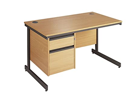 Minuet 1228 Straight Desk with Cantilver Frame with 2 Drawer Fixed Pedestal - Beech