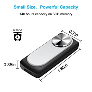 Mini Voice Recorder,MILALOKO 140 Hours Maximum Capacity 8GB Memory Digital Voice Recorder, Small Sound Recorder,Voice Activated Recording,20 Hours Battery Life (Color: B-Silver)