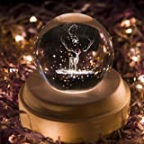 Projection LED Light-3D Crystal Ball Music Box Luminous Rotating Musical Box-Wood Base Best Gift for Birthday Christmas (Elk) (Color: Elk)