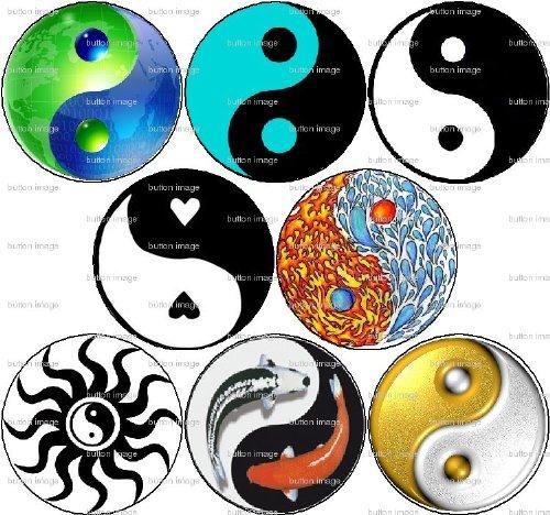 "Set of 8 Yin and Yang Pinback Buttons 1.25"" Pins Taijitu Chinese"