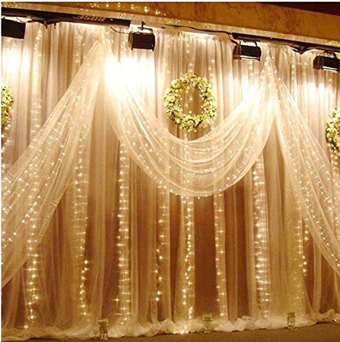 ZSTBT 300LED 9.84ft*9.84ft/3m*3m Window Curtain String Lights Icicle Fairy Lights Party Wedding Home Patio Lawn Garden Decorations(Warm white)