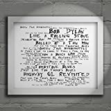 `Noir Paranoiac` Art Print - BOB DYLAN - Highway 61 Revisited - Signed & Numbered Limited Edition Typography Wall Art Print - Song Lyrics Mini Poster