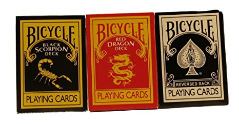"top deck cards: Ultimate Bicycle Black Magic 3 Deck Collection Playing Cards with ""The Black"" ""Black Scorpion"" & ""Red Dragon Deck"""
