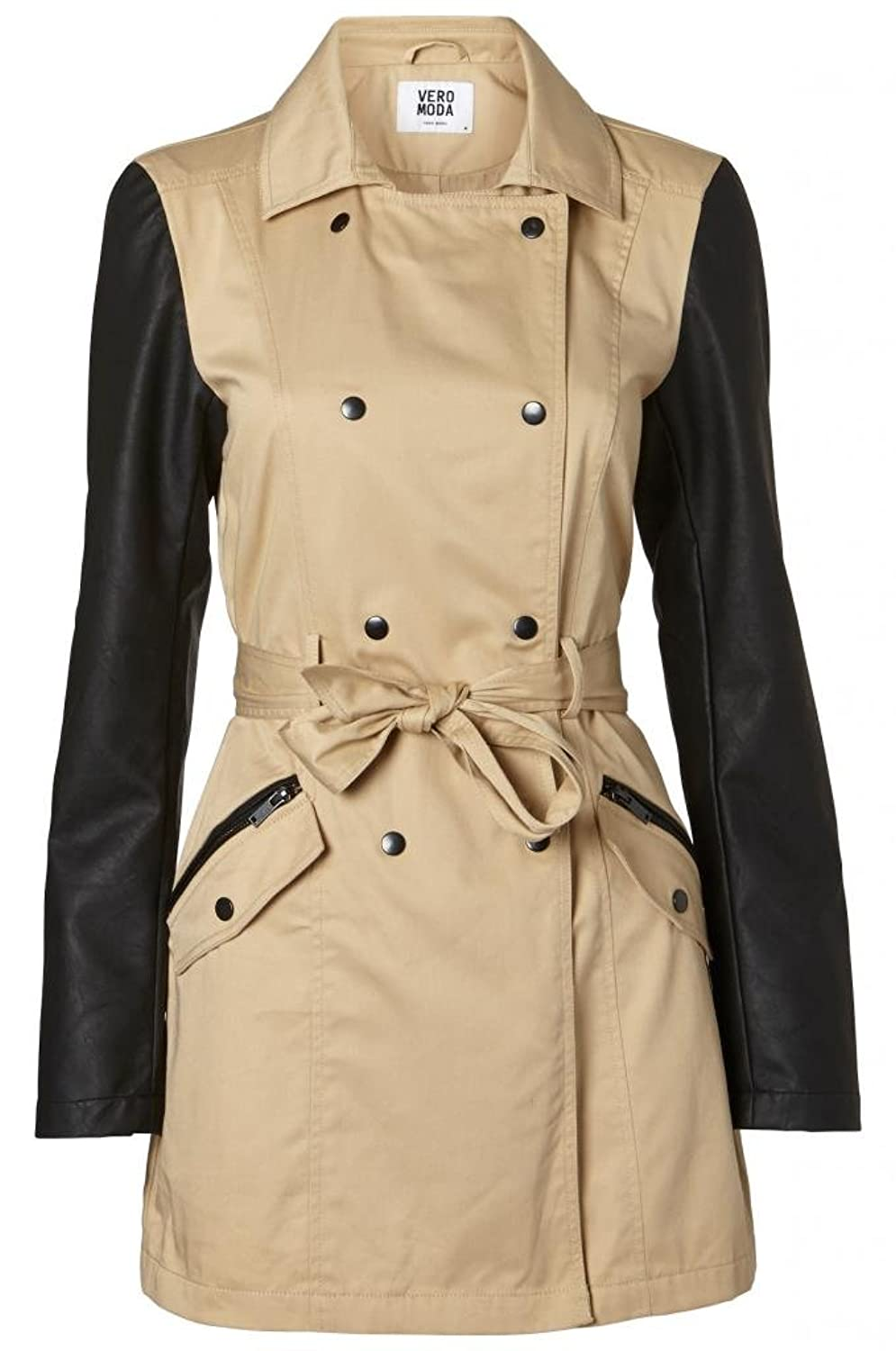 Vero Moda - Track Faux Leather Sleeve Spring Trench Coat кастрюля сфер 5 0л стекл кр вишн imperio vitross 936656