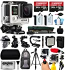 GoPro HERO4 Hero 4 Silver Edition 4K Action Camera Camcorder with 128GB All You Need Accessory Bundle includes 2x Micro SD Cards + 2x Extra Batteries + Home & Car Charger + Card Reader + Backpack Bag + Head Helmet Strap + Chest Harness + Action Stabilizer Hand Handle + Car Suction Cup Mount + Portrait Selfie Stick Monopod + Full Size Tripod + Medium Travel Case + HDMI Cable + LED Video Light + Floating Float Handheld Grip Bobber + Dust Cleaning Kit (CHDHY-401)