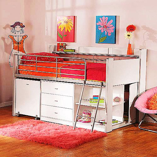 Children White Storage Loft Bed w Desk Bunk Bedroom