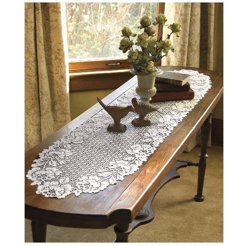 Heritage lace cottage rose 14 inch by 62 inch runner for 85 inch table runner