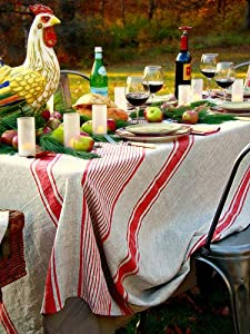 Red Linen Tablecloth Provance