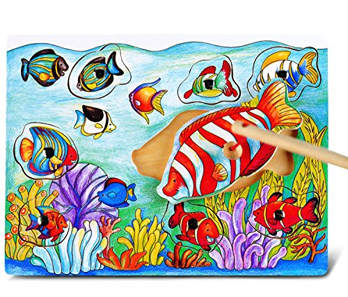 Puzzled Fish Wooden Magnetic Fishing Puzzle Play - 1