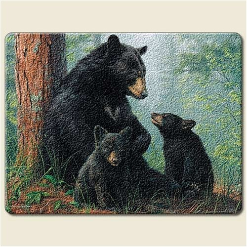 "Black Bear Family 8"" By10"" Small Tempered Glass Cutting Board"
