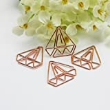 30pcs Diamond Rose Gold Paper Clips in Reusable Acrylic Paper Clip Holder Clear Bookmarks Clips for Book (Color: Rose Gold, Tamaño: 1.18in-x-1.18in)