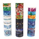 Molshine Washi Masking Tape Set of 25, Decorative Sticky Paper Tapes for DIY Craft, Gift Wrapping, Bullet Journal, Planner, Scrapbooking-Dream Planet & Gorgeous Plant Series(Multicolored) (Color: Multicolored)