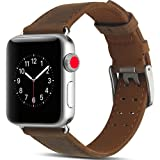 Camyse Compatible Apple Watch Band, 42mm 44mm Genuine Leather iwatch Strap Replacement Band Stainless Metal Clasp Apple Watch Series 4 & 3 & 2 & 1 Sport Edition - Dark Brown (Color: Dark Brown, Tamaño: 42MM/44MM)