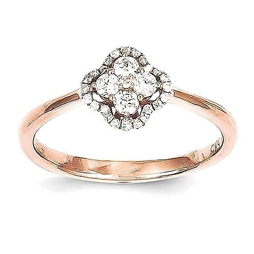 14k Rose Gold Diamond Flower Ring