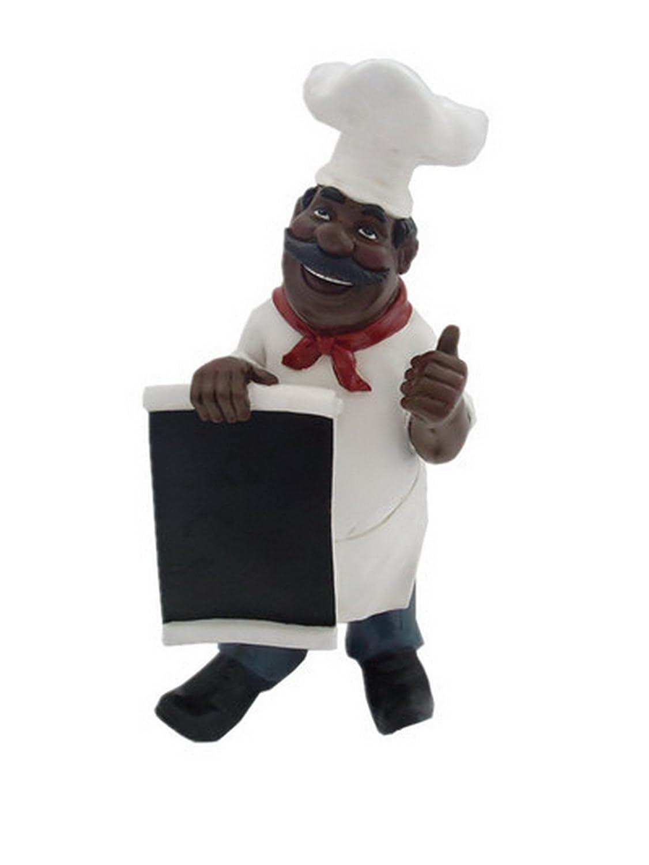 Fat chef african american black chalkboard menu statue