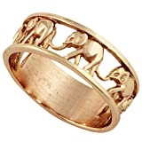 CloseoutWarehouse Sterling Silver Elephant Family Migration Ring Rose Gold-Tone Plated 925 Size 11 (Color: Rose Gold-Tone Plated)