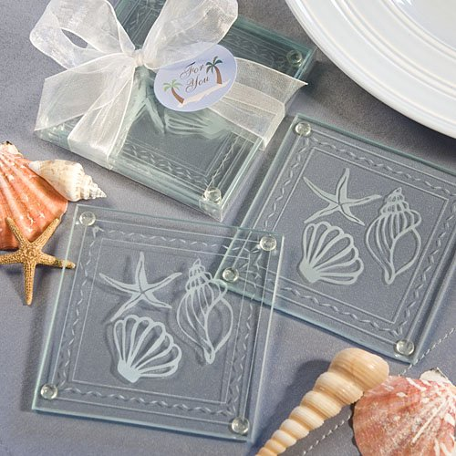 72 Beach Themed Glass Coaster Favors