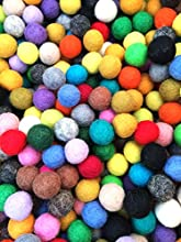 Yarn Place Felt Wool Balls - 80 Pure Wool Beads 10mm Mixed Colorful Colors