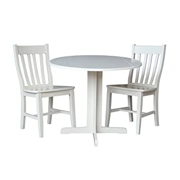 International Concepts Dual Drop Leaf Table with 2-San Remo Chairs, 36-Inch, Linen White, Set of 3