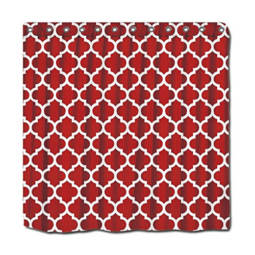 YYT Personalized Shower Curtains Cranberry Red White Moroccan Quatrefoil Pattern #5 Shower Curtain 72