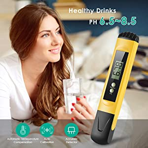 Digital PH Meter, Water Quality Tester 0.01 PH High Accuracy and 0-14 PH Measurement Range, Ideal Water Test Meter for Household Drinking Water, Aquariums, ATC (Color: Yellow-1)