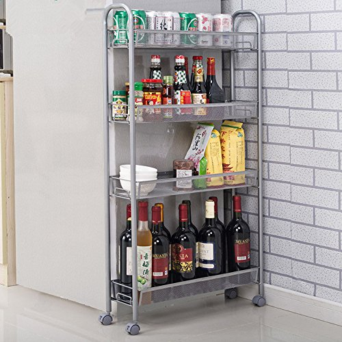 Homfa 4-Tier Gap Kitchen Storage Cart Slim Slide Out Storage Tower Rack Shelf with Wheels, Cupboard with Casters (Silver) (Storage Tower Baskets compare prices)