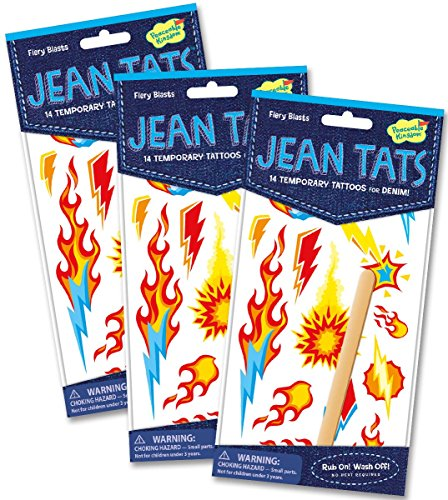 Peaceable Kingdom Jean Tats Fiery Blasts Temporary Tattoos for Fabric - 3 Pack