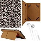 Black & Gold Leopard Design VG Faux Leather Standing Portfolio Case Cover for Asus Memo Pad Smart 10 ME301T / Asus Memo Pad FHD 10 / Asus VivoTab Smart ME400 / Asus VivoTab RT TF600T / ASUS Transformer Pad Infinity TF700T / TF300TG / TF300T 10.1 inch Tablets + White Handsfree Hifi Noise Isolating Stereo Headphones with Windscreen Microphone and Soft Silicone Ear Tips