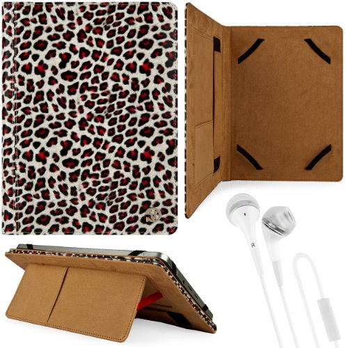 Black & Gold Leopard Design Vg Faux Leather Standing Portfolio Case Cover For Fujitsu Arrows Ipx5 / Ipx8 / Fujitsu Arrows Qh55 / Q582 10.1 Inch Tablets + White Handsfree Hifi Noise Isolating Stereo Headphones With Windscreen Microphone And Soft Silicone E front-1000181