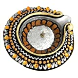 "Dolls Of India ""Hand Painted And Acrylic Stone Studded Silver Circular Diya With Gel Wax Candle"" Terracotta And..."