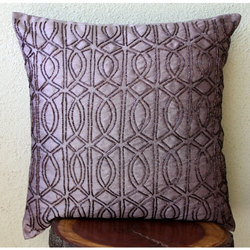 The Class Effect - 26X26 Inches Euro Shams Covers - Silk Pillow Cover Embellished With Beads front-946946