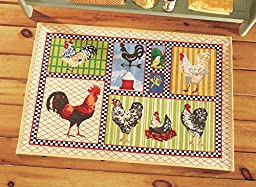 Country Rooster Tapestry Accent Rug