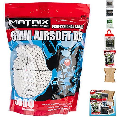Evike Matrix Match Grade 6mm Airsoft BB - White - 0.23g - 2000 rds - (31314) (500 Fps Shotgun compare prices)